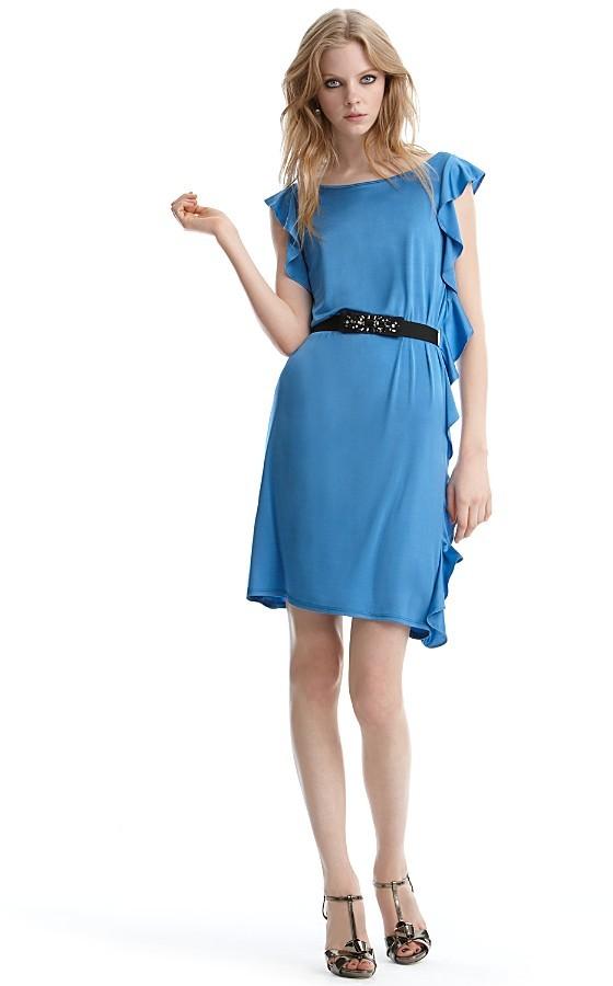 BCBGMAXAZRIA Ruffle Side Dress with Belt
