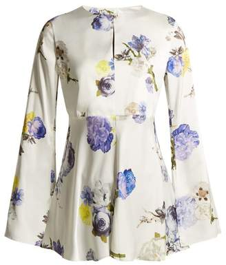 Acne Studios Bahari Open Back Floral Print Satin Top - Womens - Ivory Multi