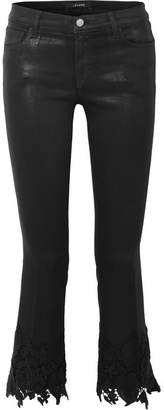 J Brand - Selena Cropped Guipure Lace-trimmed Mid-rise Flared Jeans - Black