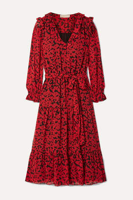 MICHAEL Michael Kors Belted Printed Fil Coupé Georgette Midi Dress - Red