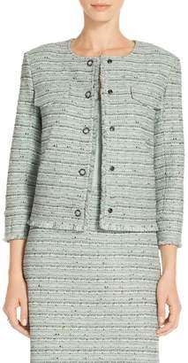 St. John Riana Multi Tweed Fringe Jacket