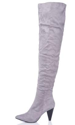 Quiz Grey Faux Suede Ruched Over The Knee Boots