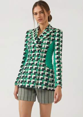 Emporio Armani Double-Breasted Jacket In Geometric Fabric With Quilted Inserts