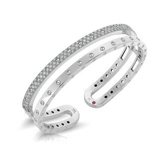 Roberto Coin Symphony 18ct White Gold Double 1.07ct Plain Bangle