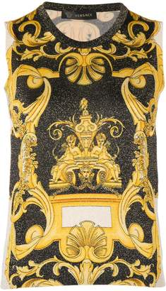 Versace Baroque glittered knit top