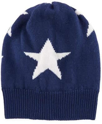 Rosie Sugden Cashmere Star Beanie Hat, Navy
