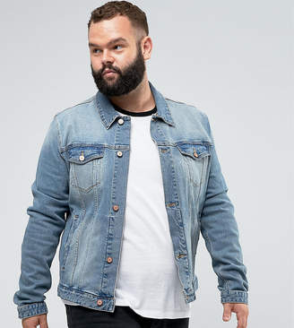 Asos Plus Skinny Denim Jacket In Mid Wash