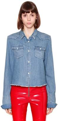 RtA Denim Cotton Shirt W/ Raw Cut Hem