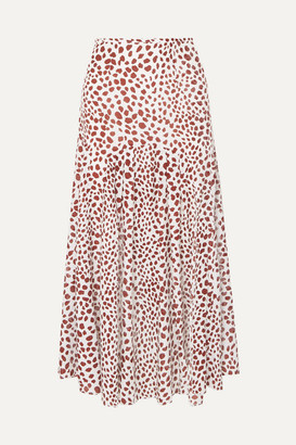 Rixo Claire Pleated Leopard-print Cotton-blend Midi Skirt - Red