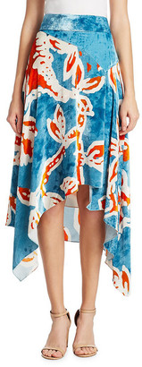 Peter Pilotto Printed Velvet Asymmetric Skirt