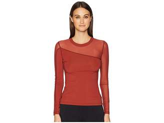 Cushnie et Ochs Long Sleeved Crew Neck Top with Mesh Panels