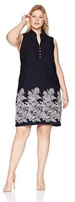 Jessica Howard Plus Size Womens Mandarin Collar Button Sheath Dress