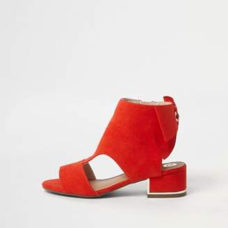 River Island Girls red bow back shoe boots