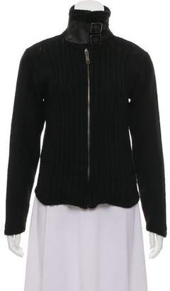 Rag & Bone Wool Blend Leather-Trimmed Cardigan