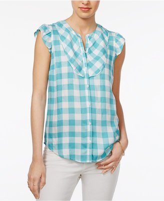 Maison Jules Flutter-Sleeve Gingham Shirt, Only at Macy's $59.50 thestylecure.com