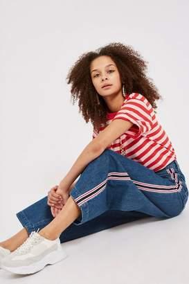 Topshop Petite Striped Indigo Wide Leg Jeans