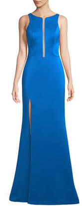 La Femme Crepe Satin Cutout Sleeveless Zip Gown