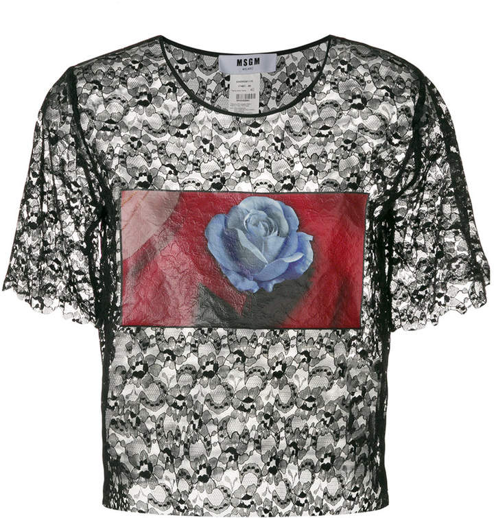 MSGM photographic flower print lace top