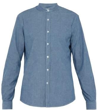Éditions M.R Editions M.r - Daniel Grandad Collar Cotton Chambray Shirt - Mens - Light Blue