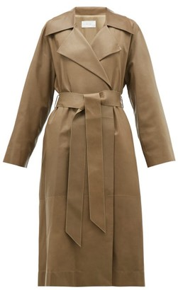 The Row Efo Leather Trench Coat - Womens - Dark Tan