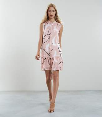 Reiss ANASTASIA PRINTED DROP WAIST DRESS Pink