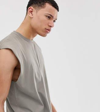 eb382ceb79133 BEIGE Asos Design ASOS DESIGN Tall oversized longline sleeveless t-shirt in