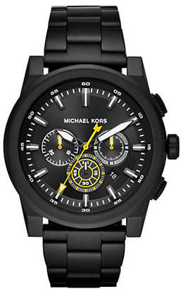 Michael Kors Chronograph Grayson Black IP Stainless Steel Bracelet Watch