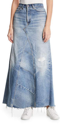 Elizabeth and James Vintage One-of-a-Kind Denim Maxi Skirt