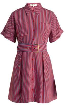 Diane von Furstenberg Striped Patch Pocket Shirtdress - Womens - Red Stripe