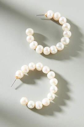 Anthropologie Katherine Pearl Hoop Earrings