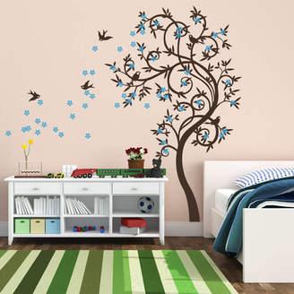 Wall Art Stylish Curved Tree With Birds Wall Sticker