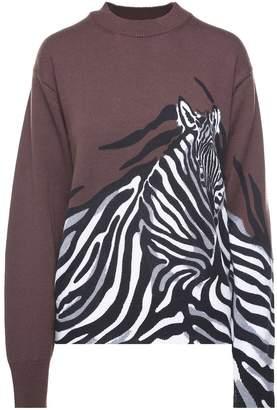 Krizia Zebra-intarsia Wool-knit Oversized Sweater