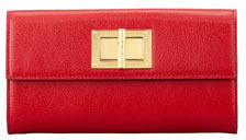 Tom Ford Natalia Continental Turn-Lock Wallet, Flame Red