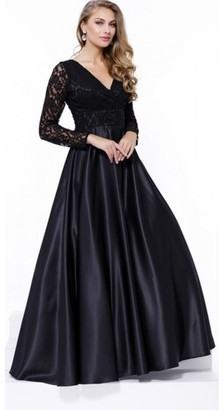 Nox Anabel - Lace V-Neck Long Evening Gown with Long Sleeves and Satin Skirt 7161 $197 thestylecure.com