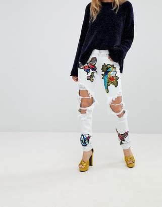 Glamorous Ripped Boyfriend Jeans With Badges