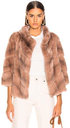 Yves Salomon Rex Rabbit Fur Jacket in Cache Coeur | FWRD