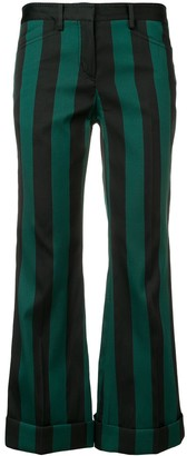No.21 striped cropped trousers