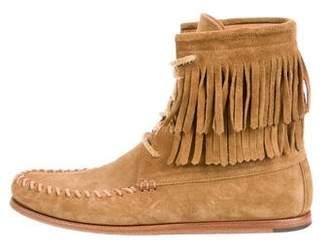 Saint Laurent Fringe-Trimmed Moccasin Boots