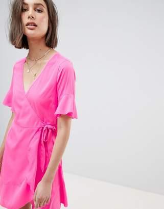 Vero Moda Flutter Sleeve Wrap Dress
