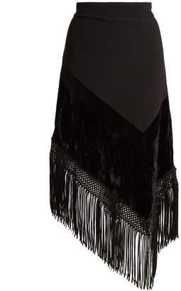 Andrew Gn Fringed-hem asymmetric crepe skirt