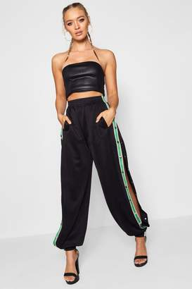 boohoo Sports Tape Popper Side Trousers