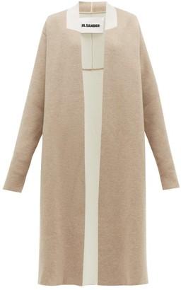 Jil Sander Two Tone Wool Blend Cardigan - Womens - Light Grey