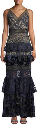 PatBo Patricia Bonaldi Tiered Lace and Velvet Floral-Beaded Gown