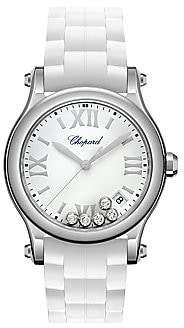 Chopard Women's Happy Sport Diamond, Stainless Steel & Rubber Strap Watch