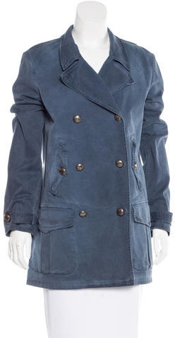 prada Prada Denim Double-Breasted Coat