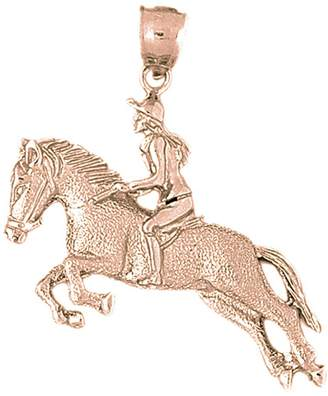 Jockey NecklaceObsession Gold-plated 925 Silver 41mm Horse And Pendant Necklace