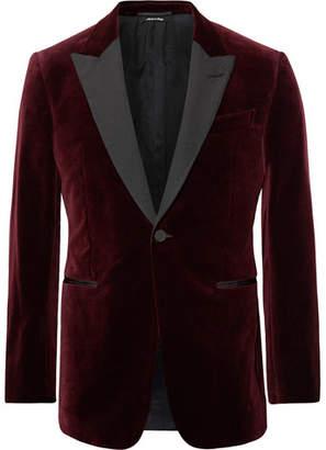 Dunhill Burgundy Kensington Slim-Fit Faille-Trimmed Cotton-Velvet Tuxedo Jacket