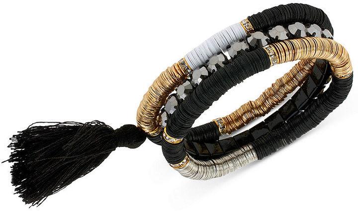 Steve Madden Multi-Tone Bead and Tassel Stretch Bracelet Set