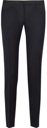 Pallas Aurore Satin-trimmed Wool Slim-leg Pants - Navy