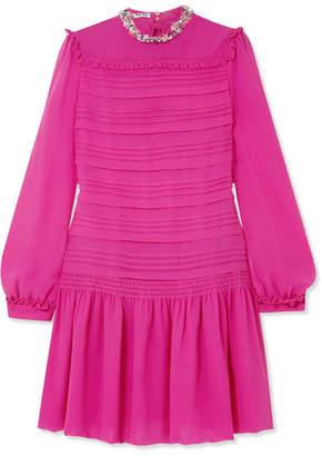 Miu Miu Embellished Silk-chiffon Mini Dress - Fuchsia